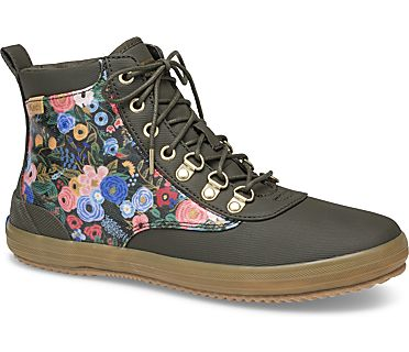 Keds x Rifle Paper Co. Scout Water-Resistant Boot Garden Party, Forest Green, dynamic