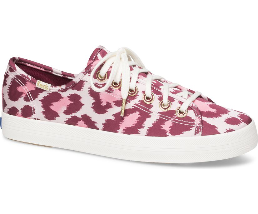 Keds X kate spade new york Kickstart Leopard Satin, Pink Multi, dynamic