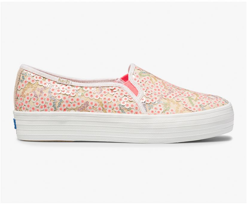 Keds x Oh Joy! Triple Decker Sequins, Pink Multi, dynamic