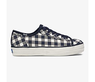 Keds x Draper James Triple Kick Dolly Check, Navy White, dynamic