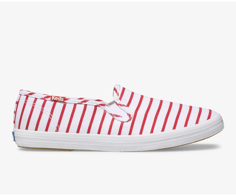 Champion Slip On Breton Stripe, White Red, dynamic