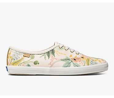 Keds x Rifle Paper Co. Champion Garden Party Leather, Pink, dynamic