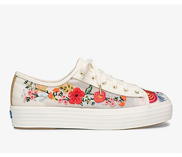 Keds x Rifle Paper Co. Triple Kick Embroidered Mesh, White Multi, dynamic