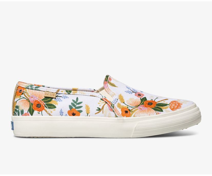 Keds x Rifle Paper Co. Double Decker Lively Floral, White, dynamic