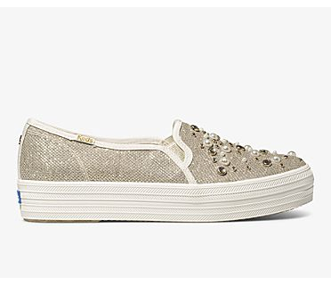 Keds x kate spade new york Triple Decker Soft Lurex, Light Gold, dynamic