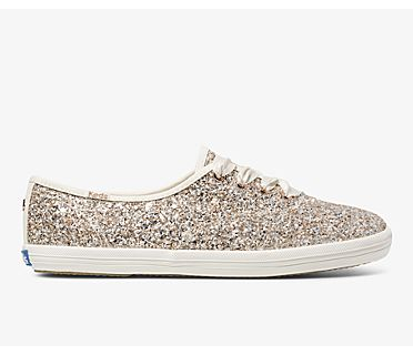 Keds x kate spade new york Champion Glitter, Rose Gold Multi, dynamic