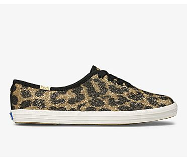 Keds x kate spade new york Champion Glitter Leopard, Tan, dynamic