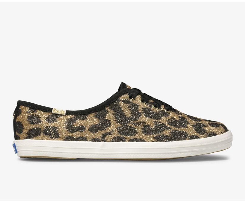 Keds x kate spade new york Champion Glitter Leopard, Tan, dynamic