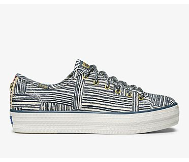 Keds x Jungalow Triple Kick Quinn, Natural Blue, dynamic
