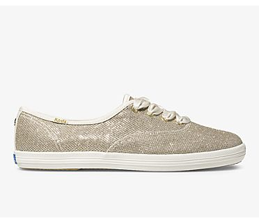 Keds x kate spade new york Champion Soft Lurex, Gold, dynamic