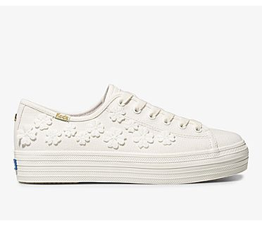 Keds x kate spade new york Triple Kick Woven Flowers, White, dynamic