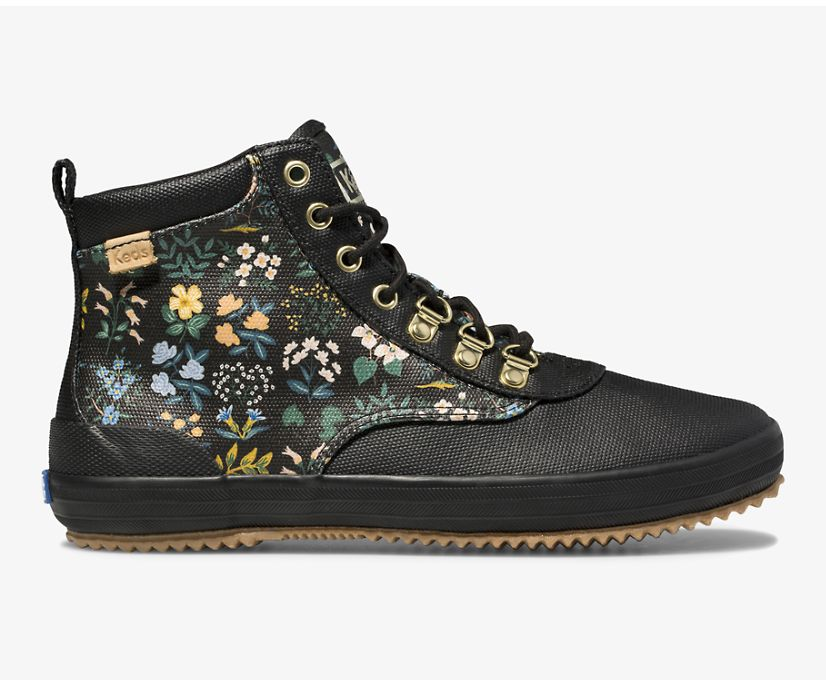 Keds x Rifle Paper Co. Scout Boot Water-Resistant Canvas Wildflower, Black, dynamic