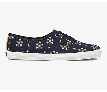 Keds x Rifle Paper Co Champion Posy Embroidered, Navy, dynamic