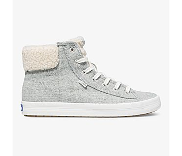 Kickstart Hi TRX Brushed Denim Faux Shearling, Grey, dynamic