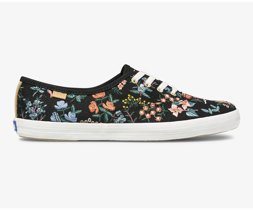 Keds x Rifle Paper Co Champion Wildflower Embroidered, Black, dynamic