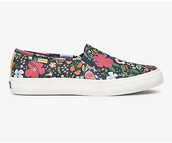 Keds x Rifle Paper Co Double Decker Wild Rose, Navy, dynamic