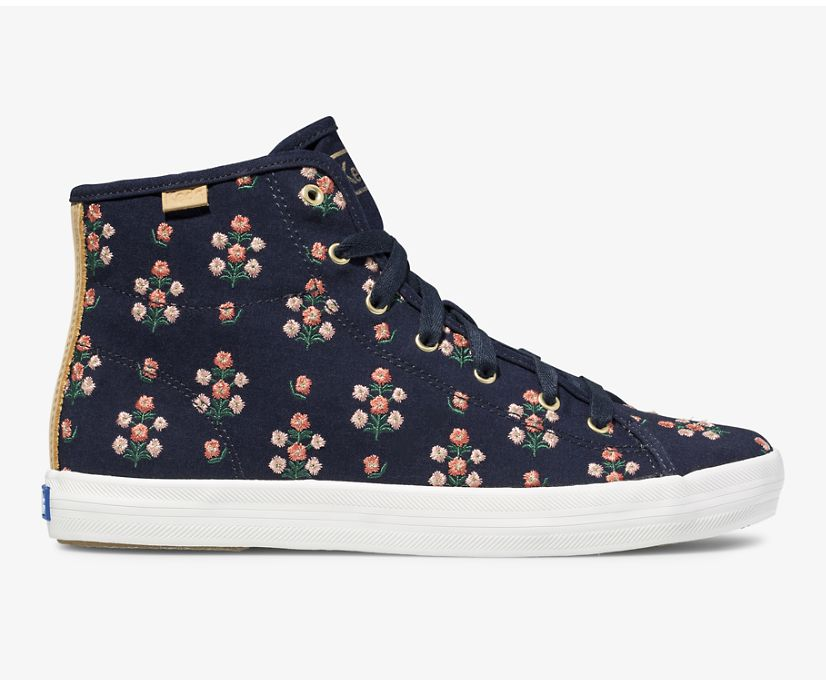 Keds x Rifle Paper Co Kickstart Hi Posy Embroidered, Navy, dynamic