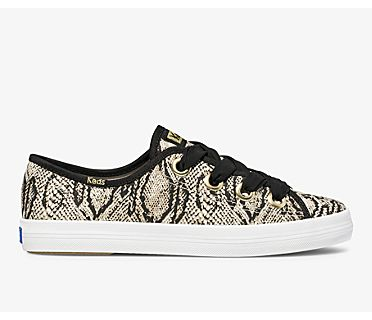 Kickstart Big Eyelet Animals Canvas, Cream Black Snake, dynamic