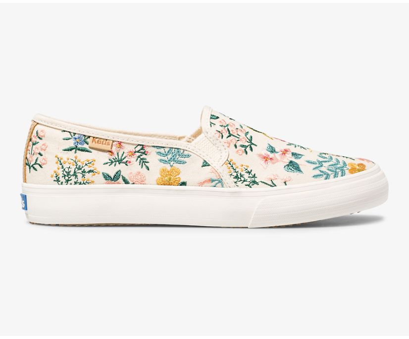 Keds x Rifle Paper Co Double Decker Wildflower Embroidered, Natural, dynamic