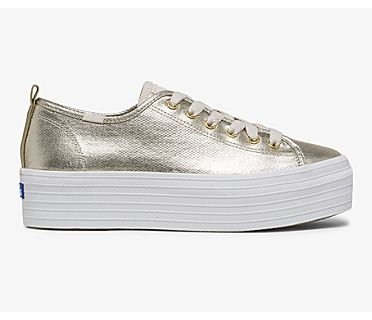Keds x Wonder Woman Triple Up Metallic, Gold, dynamic