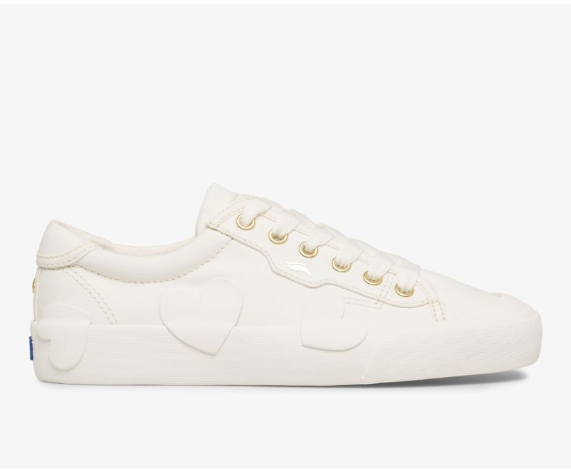 Keds x kate spade new york Crew Kick Rubber Applique Canvas, White, dynamic