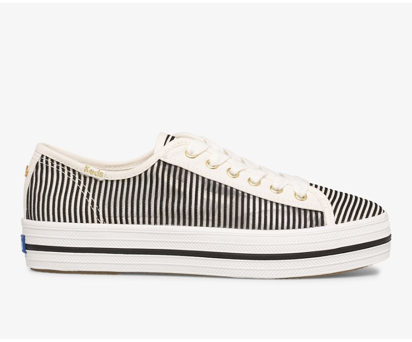 Keds x kate spade new york Triple Kick Stripe Mesh, Black, dynamic