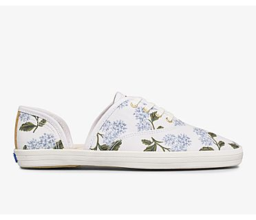 Keds x Rifle Paper Co. Vintage Champion D'Orsay Orangerie, White Multi, dynamic