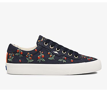 Keds x Rifle Paper Co. Crew Kick Mini Strawberries Embroidered, Navy, dynamic