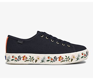 Keds x Rifle Paper Co. Triple Kick Strawberry Fields Embroidered, Navy Multi, dynamic