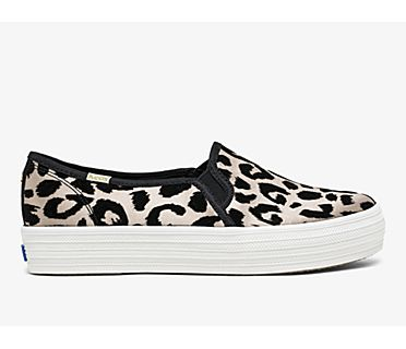 Keds x kate spade new york Triple Decker Flocked Leopard, Leopard, dynamic