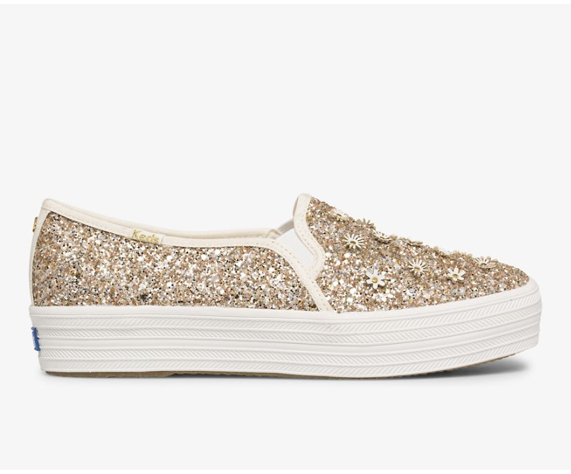Keds x kate spade new york Triple Decker Glitter Flowers, Multi Metallic, dynamic