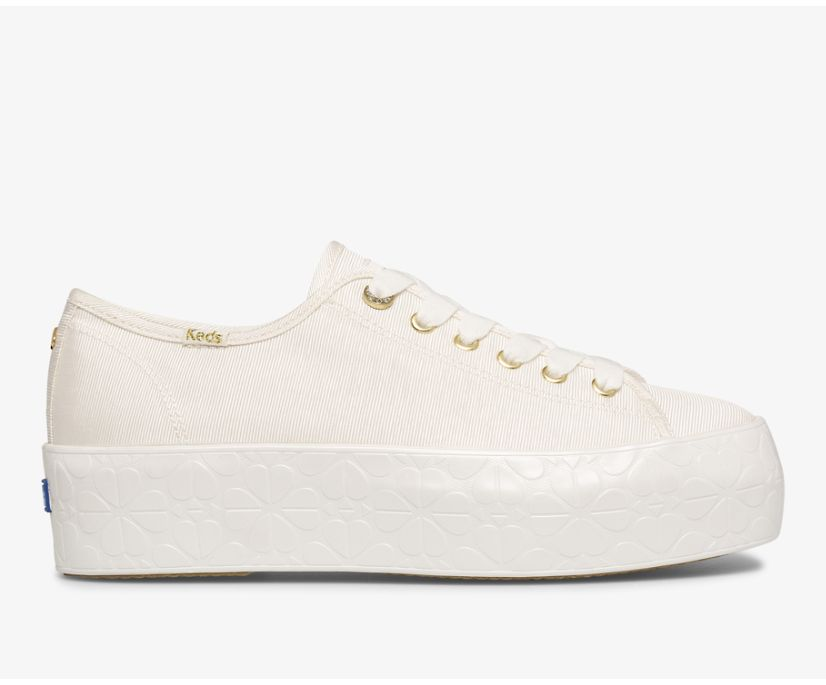 Keds x kate spade new york Triple Up Faille Logo Foxing, White, dynamic