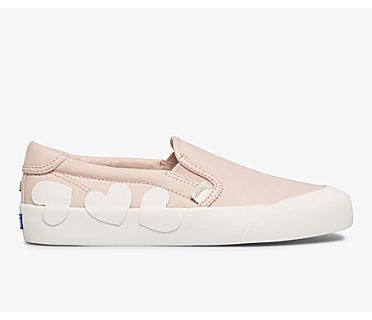 Keds x kate spade new york Crew Kick Slip On Heart Applique, Pink, dynamic