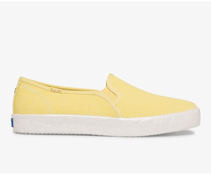 Keds x kate spade new york Double Decker Logo Foxing Canvas, Yellow, dynamic