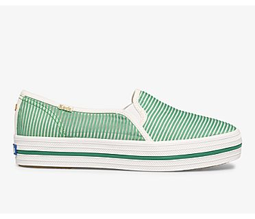 Keds x kate spade new york Triple Decker Stripe Mesh, Green, dynamic