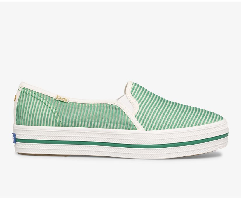 Keds x kate spade new york Triple Decker Stripe Mesh, Green, dynamic