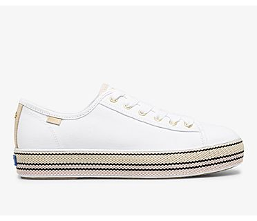 Keds x kate spade new york Triple Kick Woven Stripe Foxing, White Pink, dynamic