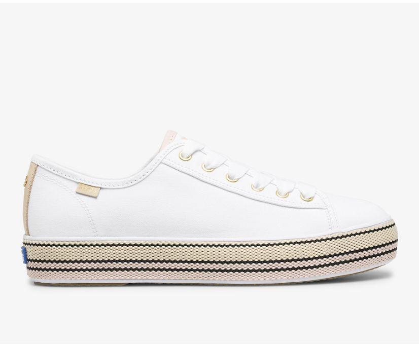 Keds x kate spade new york Triple Kick Woven Stripe Foxing, White Pink, dynamic