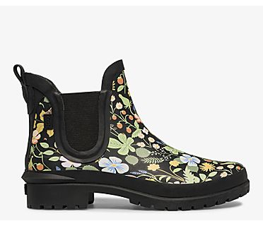 Keds x Rifle Paper Co. Rowan Rain Boot, Black Multi, dynamic