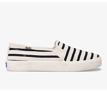 Keds x Hatch Double Decker Bateau Stripe, White/Black, dynamic