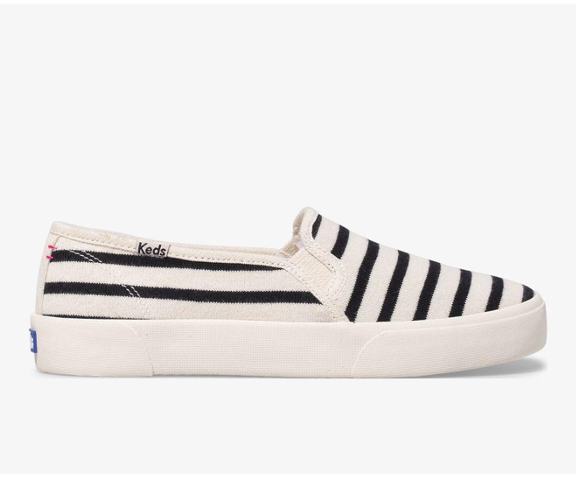 Keds x Hatch Double Decker Bateau Stripe, White/Black, dynamic