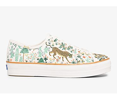 Keds x Rifle Paper Co. Triple Kick Menagerie Embroidered, Cream/Multi, dynamic
