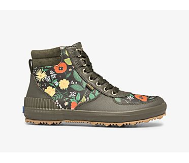 Keds x Rifle Paper Co. Scout Boot Water-Resistant Botanical Canvas w/ Thinsulate™, Olive, dynamic
