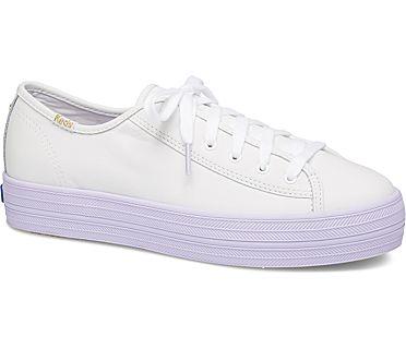 Keds x kate spade new york Triple Kick Colorblock Leather, White Purple, dynamic