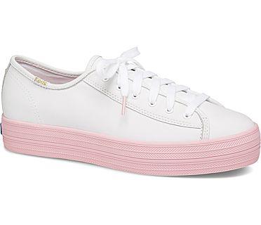 Keds x kate spade new york Triple Kick Colorblock Leather, White Pink, dynamic