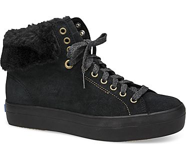 Rise Hi Suede Faux Fur, Black, dynamic