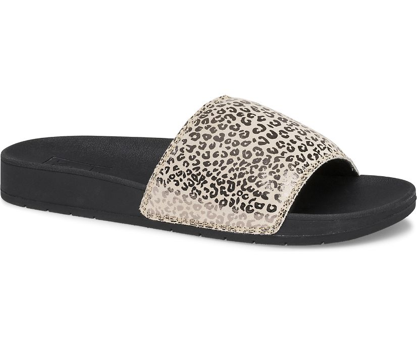 Bliss II Leather Leopard Sandal, Rose Gold/Black, dynamic