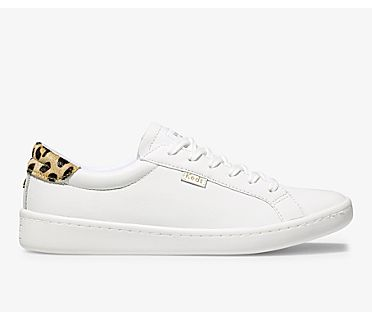 Keds x kate spade new york Ace Leather Calf Hair, White Leopard, dynamic