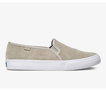 Double Decker Perf Suede., Gray, dynamic