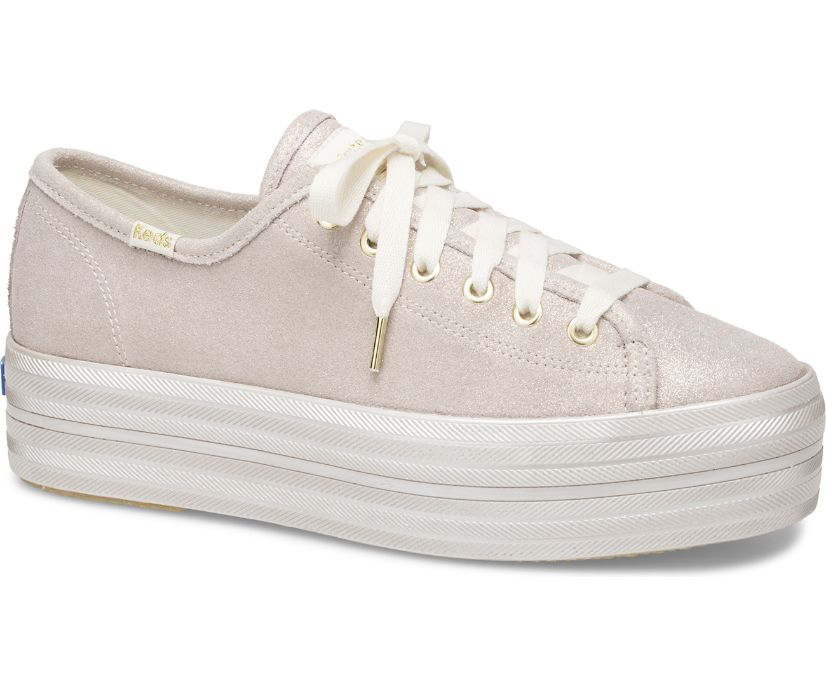 Keds x kate spade new york Triple Up Fine Glitter Suede, Gold, dynamic